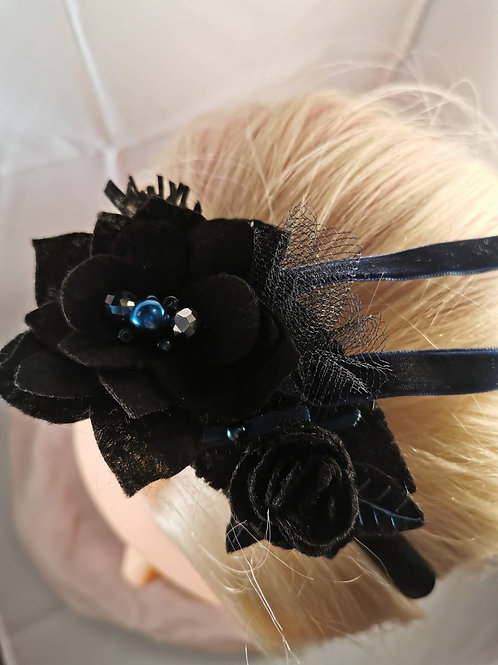 Black satin hairband with roses and ribbons