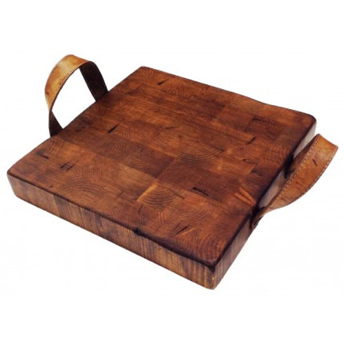 Cutting Board with Leather Handles (Square)
