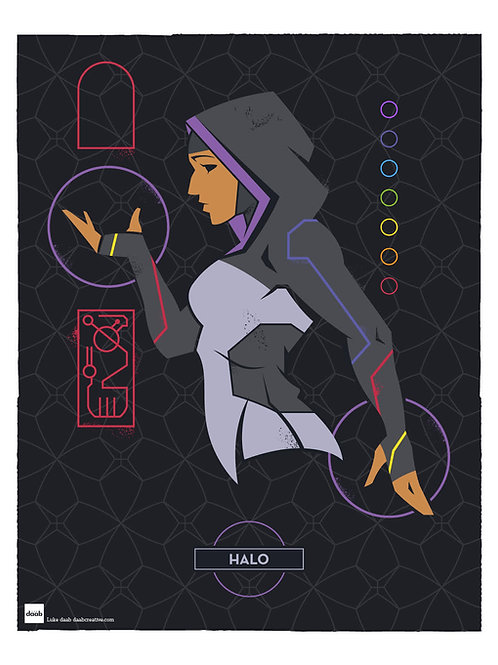 Autographed Print: Halo Profile from Young Justice