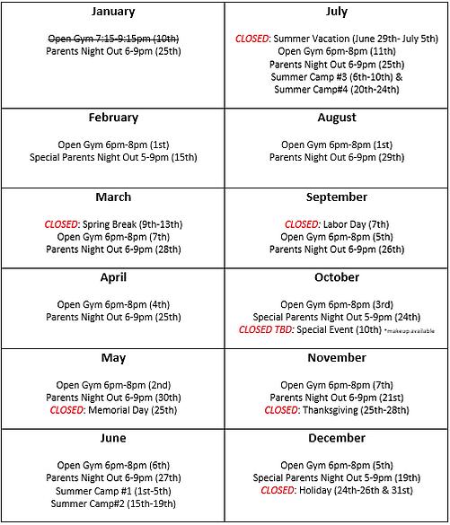 Olympo Gynastics 2020 Calendar
