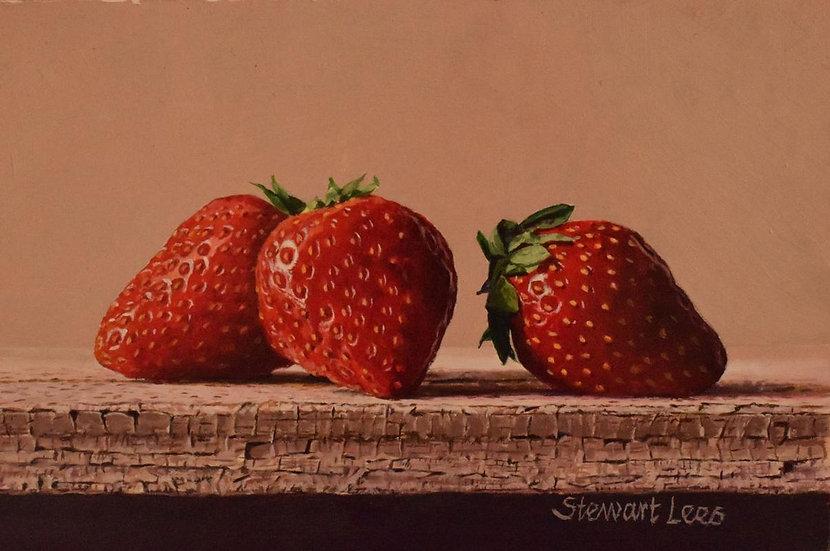 Three Strawberries on a Shelf