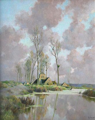 ALEXANDRE LOUIS JACOB   La Village au Fond de la Marne