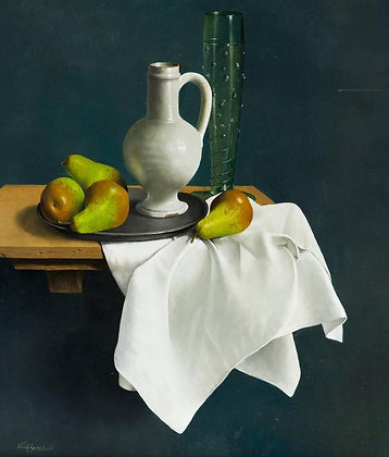 WILLEM DOLPHYN | Pears and a White Delft Jug