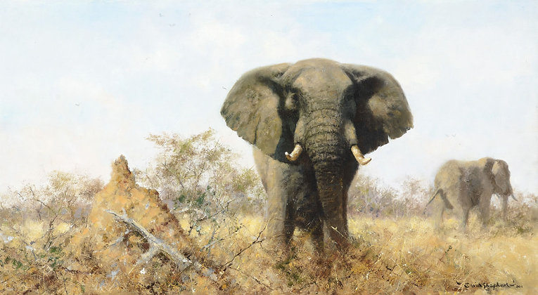 DAVID SHEPHERD | Elephants with Ant Hill, Painted in 2001