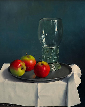 WILLEM DOLPHYN | Pink Lady Apples and a Dutch Roemer Glass