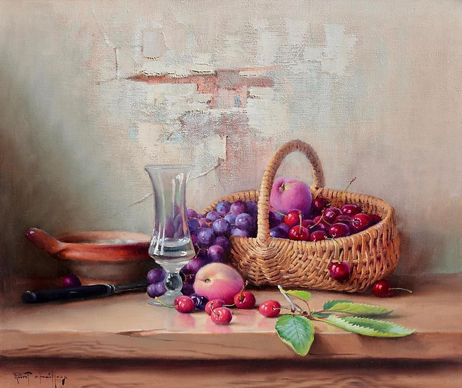 A Basket of Cherries, Grapes and Plums