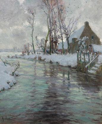 ALEXANDRE LOUIS JACOB | Winter Landscape, Thatch Cottage on a Riverbank
