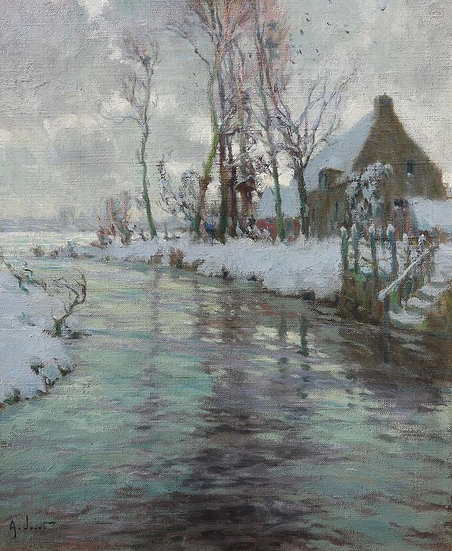 Winter Landscape, Thatch Cottage on a Riverbank