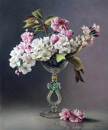 PIETER WAGEMANS | Cherry Blossom in a Venetian Glass