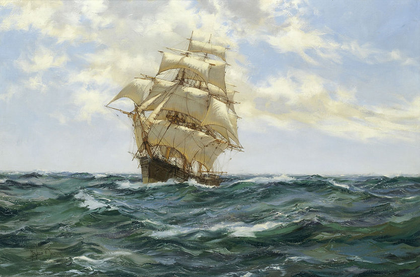 The American Clipper Asterion running before the wind on the open ocean