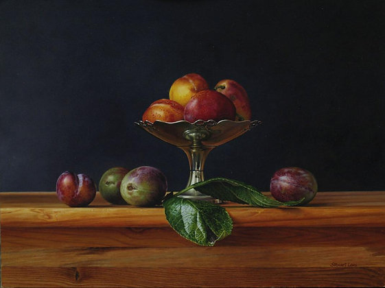 STEWART LEES   Plums in a Silver Dish