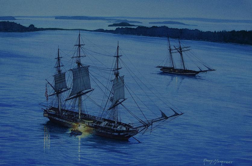 USS Constitution at Nightfall