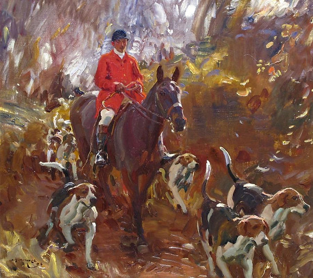 A Huntsman and Hounds, Painted in 1906