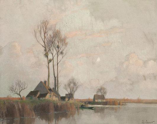 ALEXANDRE LOUIS JACOB | Soir sur le Marais, Derniers Rayons