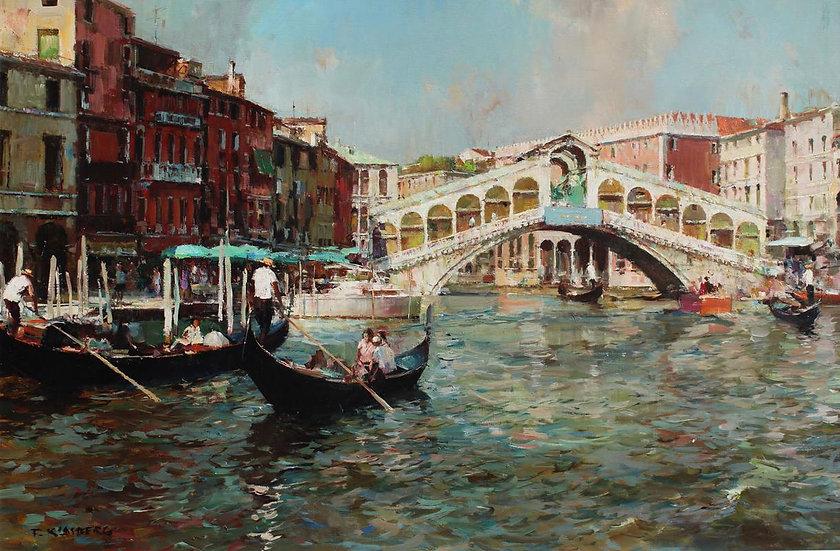 A Venice scene with Gonolers before the Rialto Bridge