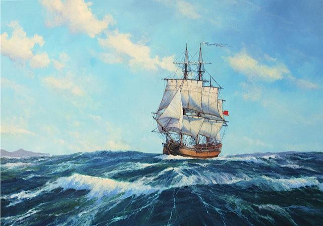HMS Bounty in the South Seas