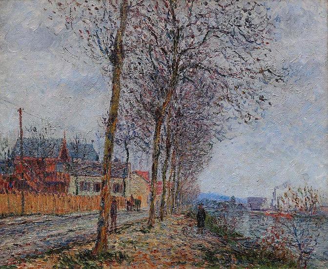 Le Quai du Pothuis, Pontoise, Painted in 1900