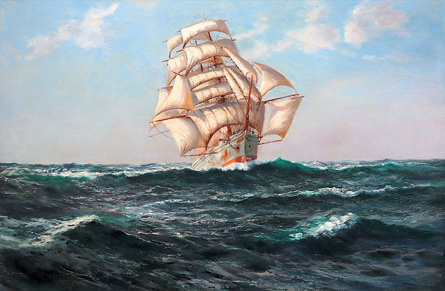 MONTAGUE DAWSON | The White Barque under Full Sail