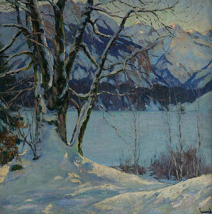 EDWARD CUCUEL | A Frozen Lake in a Mountainous Winter Landscape