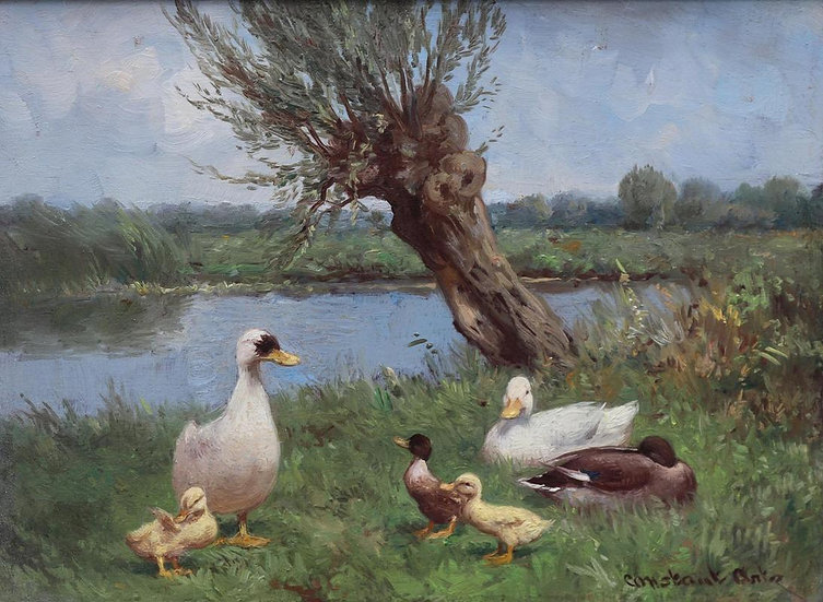 Ducks and Ducklings by a Willow