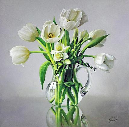 PIETER WAGEMANS   A Vase of White Tulips