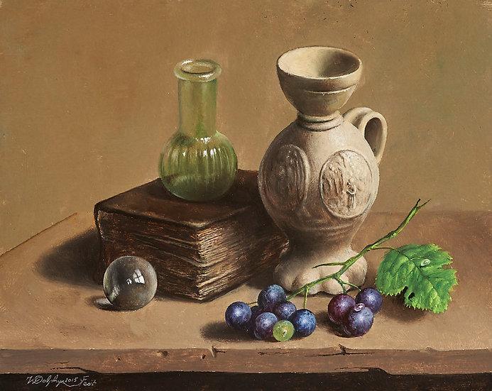 A Siegburg Jug and Grapes