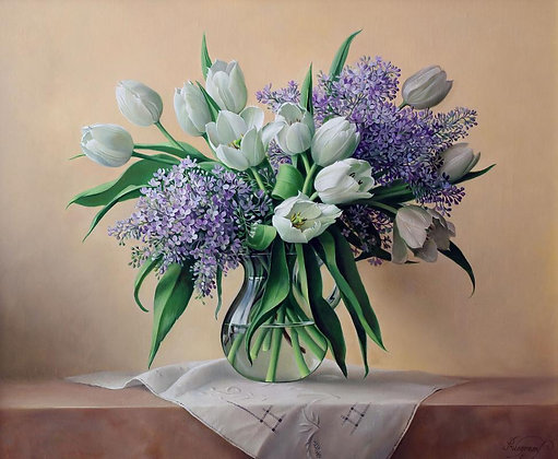 PIETER WAGEMANS | Blue Lilac and Tulips