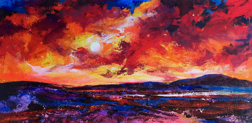 Fire and Snow; Red Sky Sunset; Marconi Bog