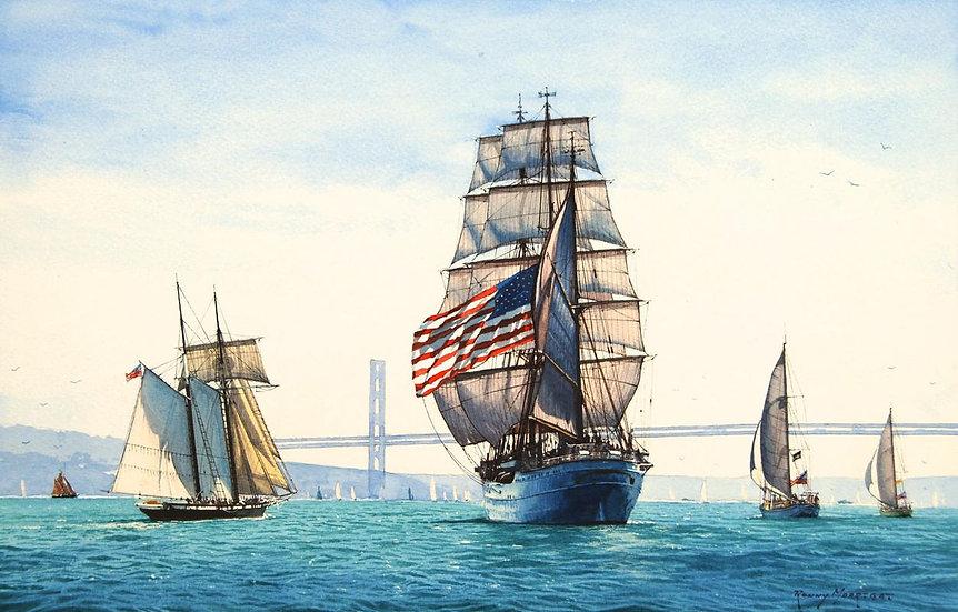 USS Eagle under the Bridge