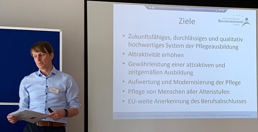 28.05.2019: Schule für Gesundheitsberufe in Perleberg, Schulleiter Daniel Neubecker Diplom-Pflegepädagoge