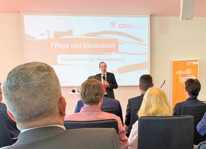 Ingo Senftleben MdL Fraktionsvorsitzender der CDU Potsdam. Diskussionsrunde Gesundheits- und Pflegepolitik in Brandenburg im Potsdamer Landtag am 21.05.2019.