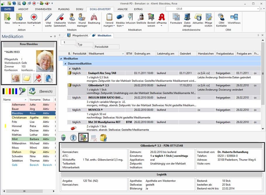 Pflegedokumentation Vivendi von der Firma Connext - Cloud - Lösung.