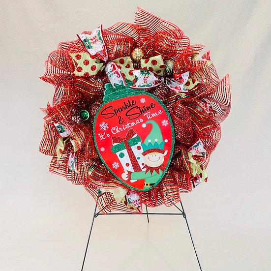Christmas Elf Mesh Wreath