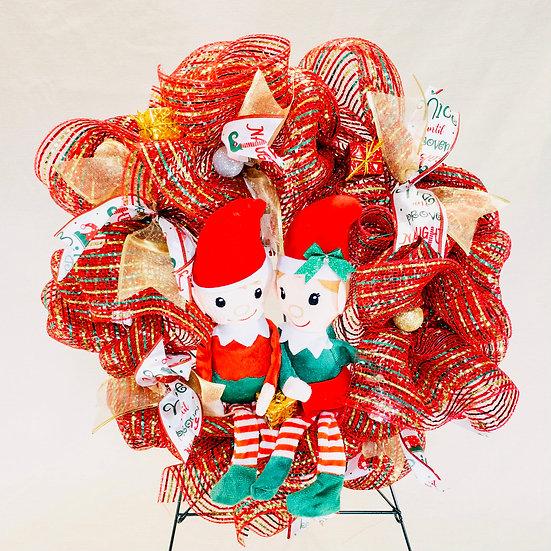 Elf Couple Wreath