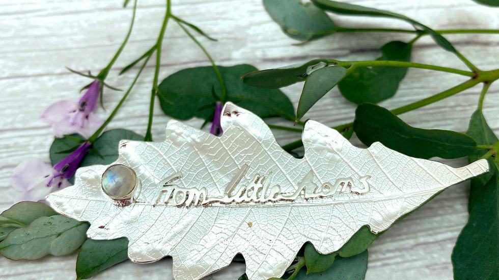 Personalised Silver Oak Leaf Brooch © -By DianeLeeSilver