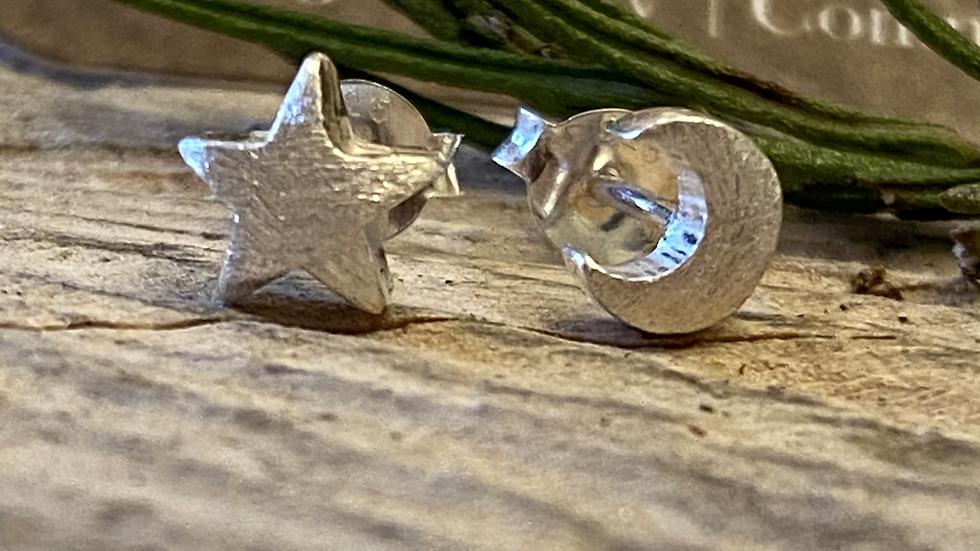 Stud Earrings Silver Moon Star Stud  Earrings.
