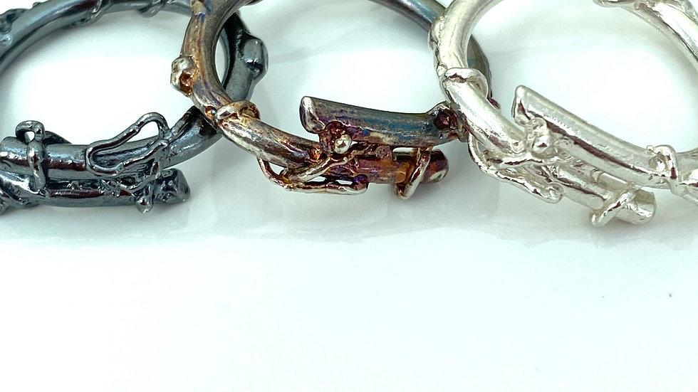 Oxidised Silver Twig Ring Silver