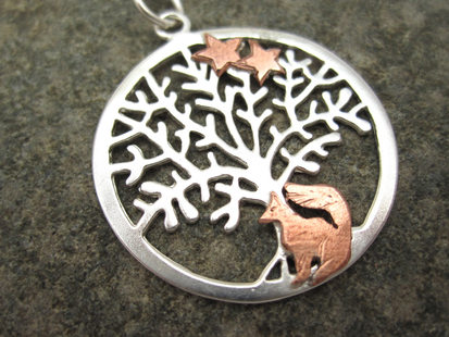 Sitting Fox Tree of Life pendant