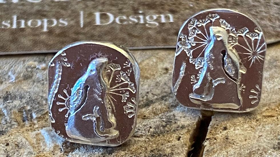 Meadow Hare Silver Stud Earrings Sitting Hare W&F