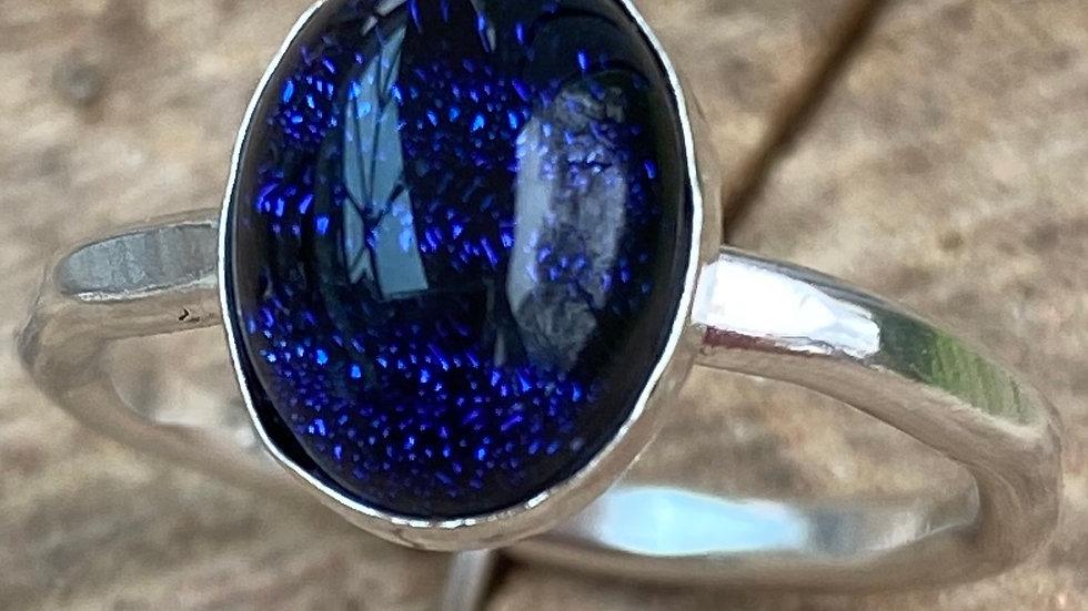 Dark Blue Black Stone Set Silver Stacking Ring