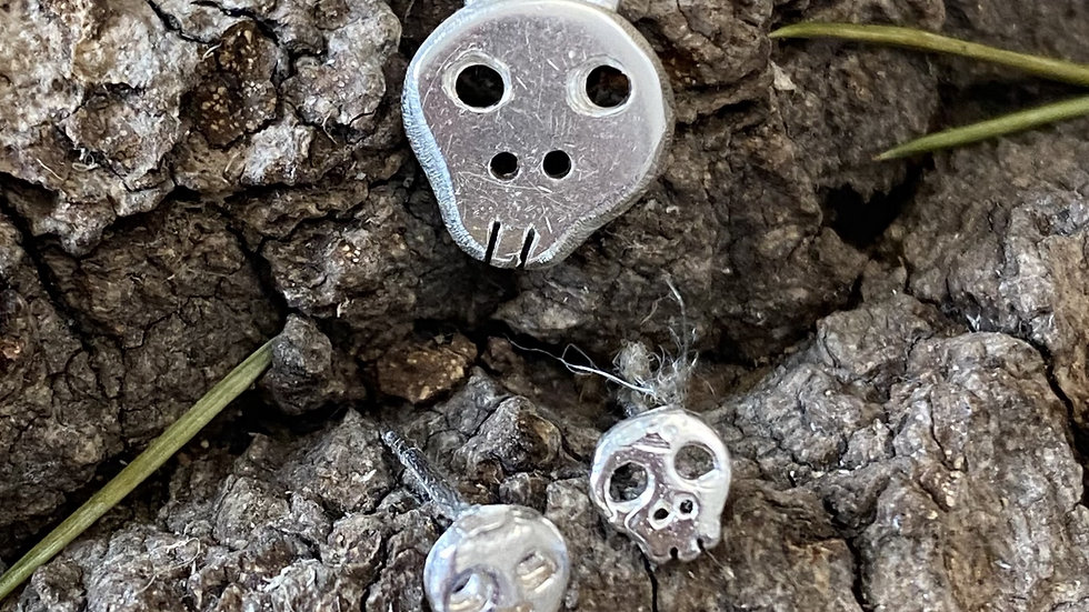 Sugar Skull Earrings & necklace set Silver made to order