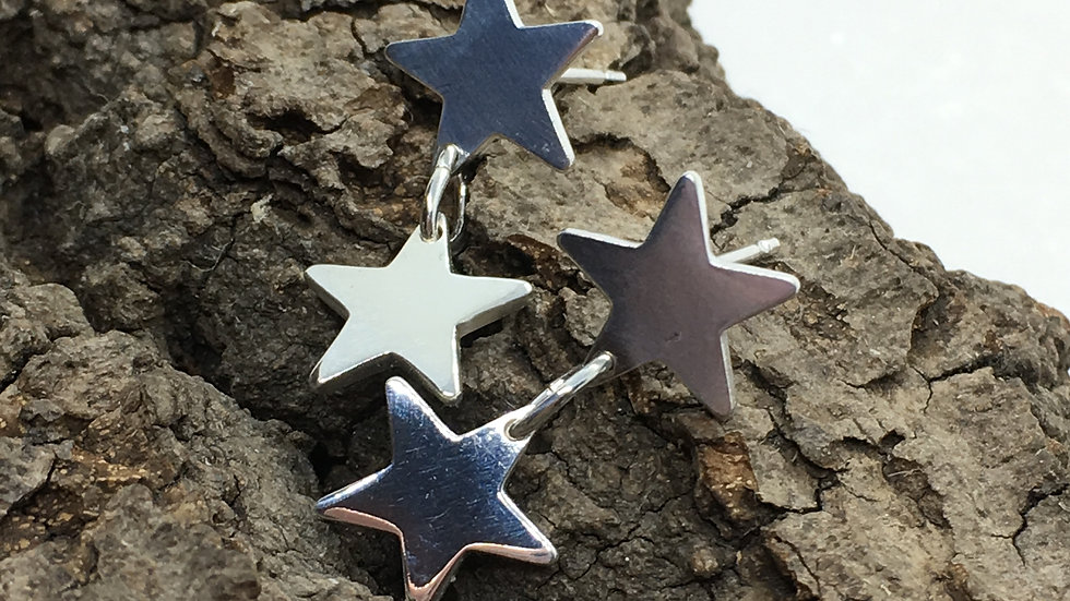 Silver Star Stud Drop Earrings.
