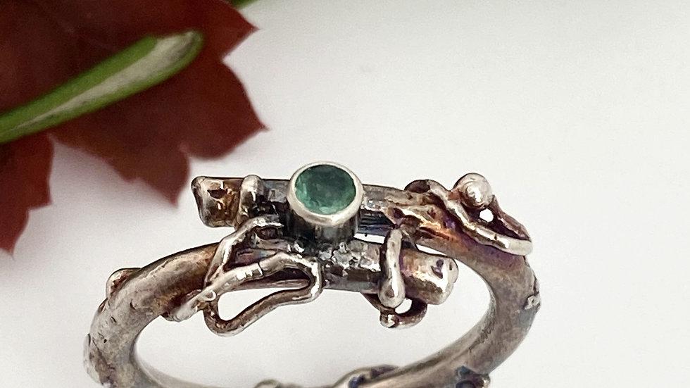 Emerald Oxidised Silver Twig Ring Silver (pre-order)