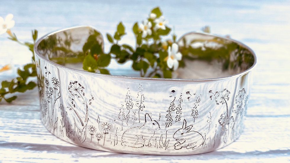 Personalised Wide Meadow bangle - your pet.