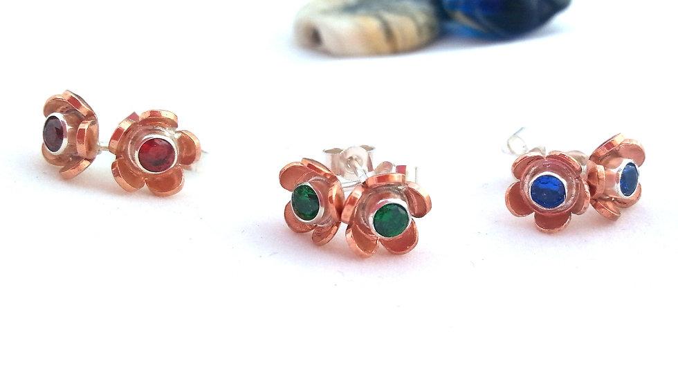 Flower Stud earrings Copper & Silver