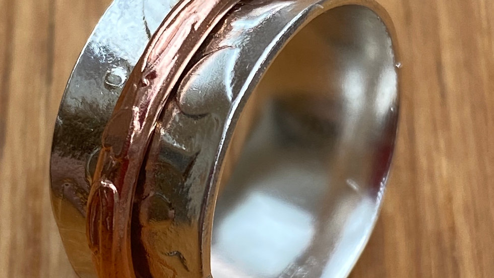 Silver Copper Spinning Ring Size N