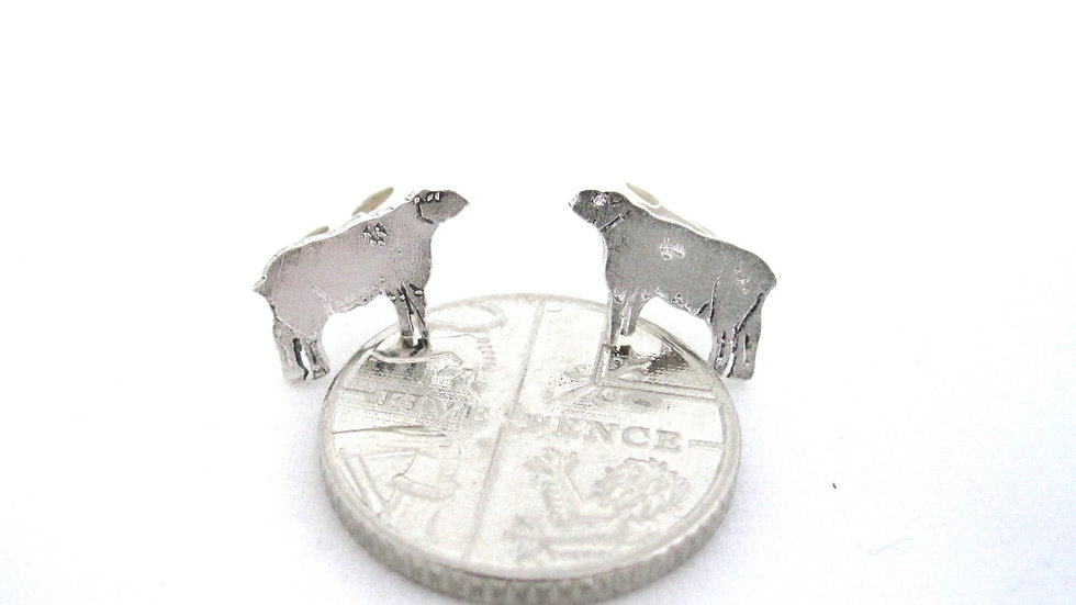 Sheep silver stud earrings