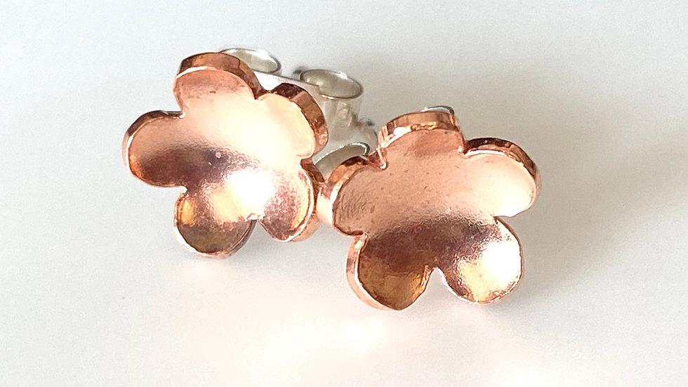 Stud Copper Silver Flower Series Earrings