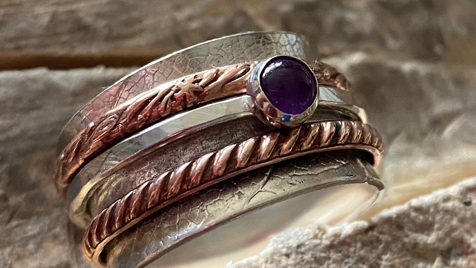 Wide Amethyst 'Shepherdess'  Spinning Ring Size W