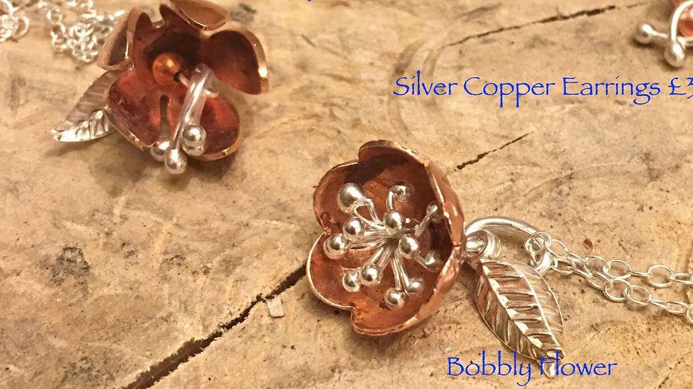 Necklace Copper Silver Flower Series